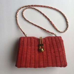 Vintage Red Woven Vinyl Handbag with Gold Accents